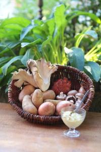 Zutaten für den Kochkurs Pilze, Kartoffeln, Zwiebeln und Senf