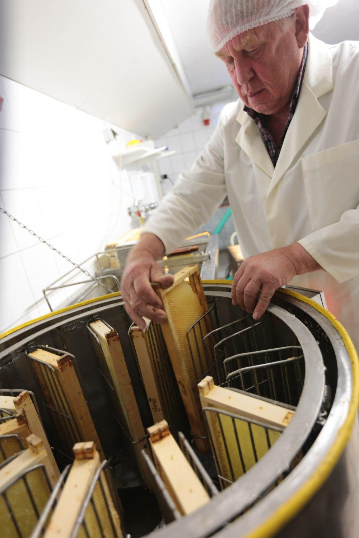 Die Zentrifuge schleudert den Honig mit 190 Umdrehungen pro Minute hinaus