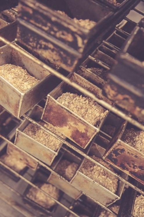 der Teig ist auf die Brotkästen verteilt