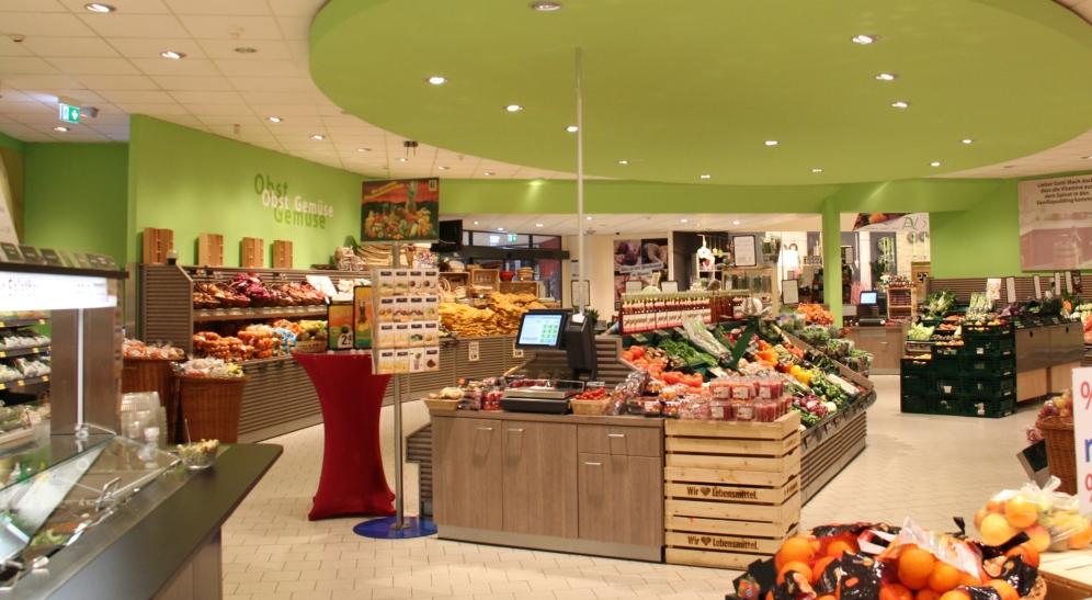 Der große Bereich mit Obst und Gemüse, vieles davon aus dem Münsterland.