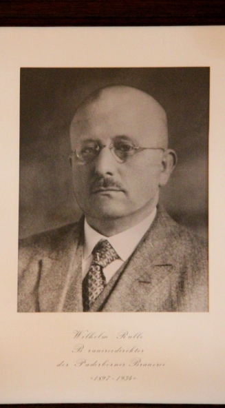 Würdigung von Großonkel Wilhelm Rulle, 1897 bis 1934 Brauereidirektor in Paderborn.